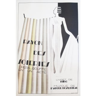 Original 1930 French Art Deco Fashion Poster, Rayon des Soieries