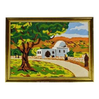 Vintage Framed Country Landscape Needlepoint Art For Sale
