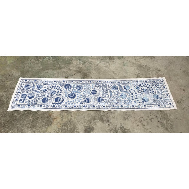 Blue Suzani Silk Table Runner - Image 2 of 6