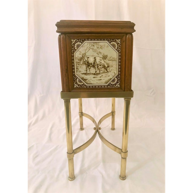 Late 19th Century Antique English Humidor on Stand Inlaid With Minton Porcelain Tiles Depicting Horses and Livestock Scenes, Circa 1860-1880. For Sale - Image 5 of 7