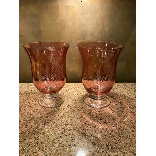 Mid Century Cranberry Etched Glass Hurricane Candle Holders - a Pair Preview