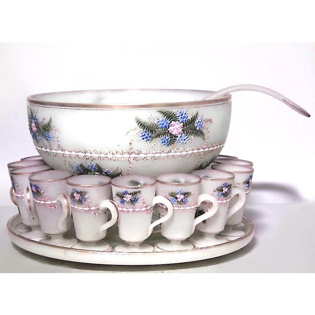 French Victorian white opaline punch bowl set with floral enamel trim (1 bowl, 1 tray, 1 ladle, 12 cups)