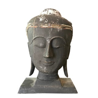 Antique Carved Head of Black Buddha Sculpture For Sale
