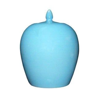 Simple Modern Handmade Plain Pastel Blue Glaze Porcelain Vase Jar Vs012S Navy Blue For Sale