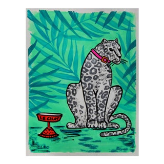 White Leopard Tropical Painting by Cleo Plowden For Sale