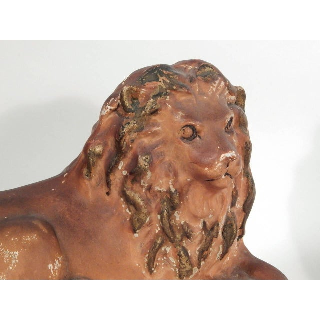 Green Pair of Painted Chalkware Lions For Sale - Image 8 of 10