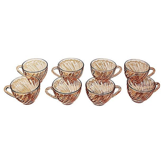 French Swirled Pink Arcoroc Teacups - Set of 8 For Sale