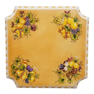 1950s Italian Signed Hand-Painted Terracotta Table Top For Sale