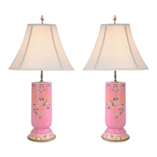 Antique French Pink Porcelain Floral Hand Painted Table Lamps - A Pair