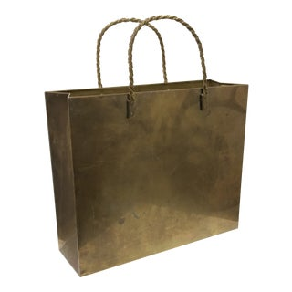 Vintage Brass Shopping Bag Magazine Rack For Sale