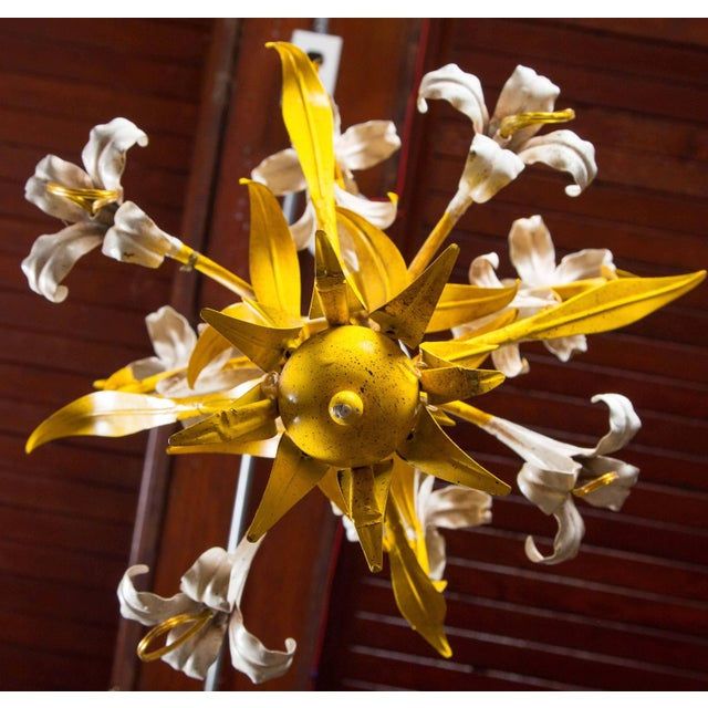 Metal 1960s Vintage Italian Lily Chandelier For Sale - Image 7 of 8