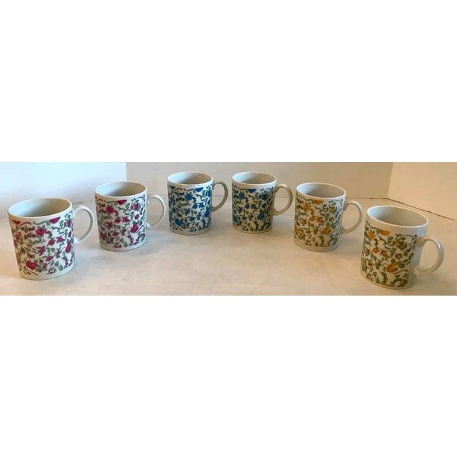 "Nice vintage floral design tea or coffee mugs - Set of six. Marked ""Japan"" on bottom."