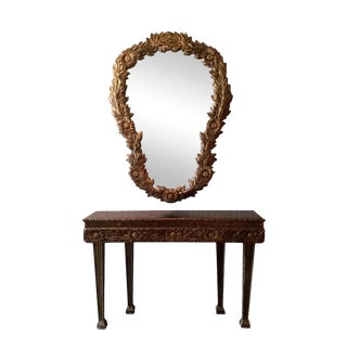 Hollywood Regency Floral Gilt Console & Mirror - 2 Pieces. Last Call For Sale