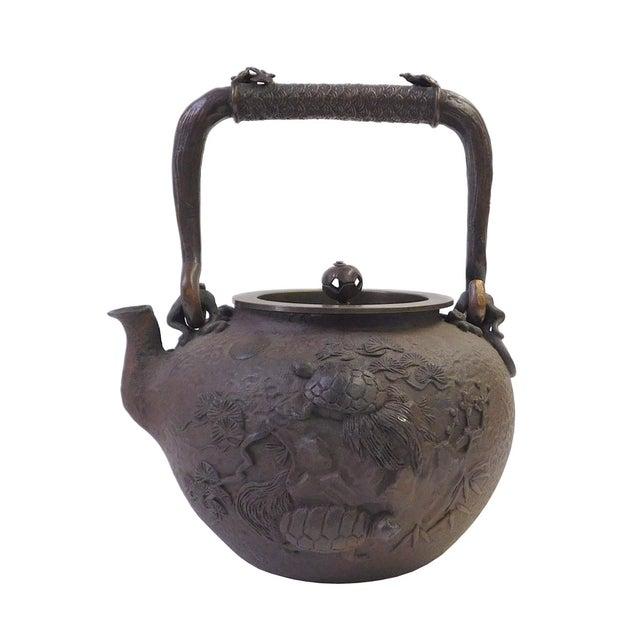 Vintage Iron Relief Turtle Crane Decorative Teapot - Image 1 of 10