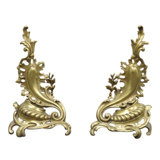 Antique French Louis XV Rococo Style Bronze Brass Acanthus Andirons - a Pair For Sale