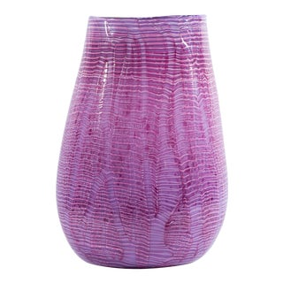 Rod Sounik Signed 2002 Pink Art Glass Vase For Sale