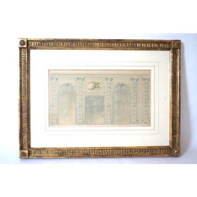 Antique 1820's Hand-Colored Architectural Drawing of Flowering Trellis For Sale In West Palm - Image 6 of 9