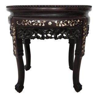 Antique Mother of Pearl and Rosewood Chinese Marble Top Side Table / Stool or Display Pedestal For Sale