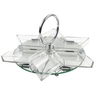 French Art Deco Cocktail Set Barware Mirror Serving Tray and Dishes For Sale
