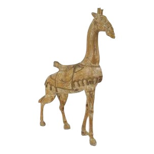 20th Century American carousel style stripped pine large giraffe figure with gold trim and wearing a saddle For Sale