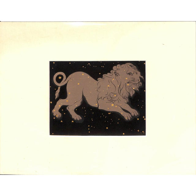 """Beautiful, antique chromolithograph showing the constellation """"Leo"""" from Charles Blunt's """"The Beauty of the Heavens""""..."""