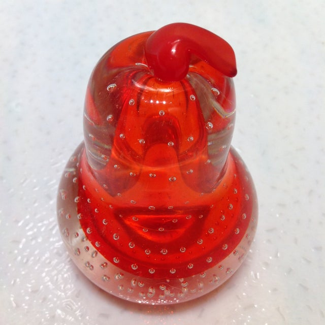 Red Alfredo Barbini Glass Pear Paperweight For Sale - Image 8 of 8