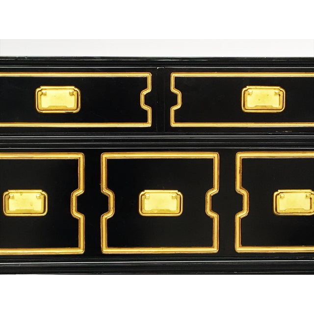 Vintage Black and Gold Dorothy Draper Style Chest For Sale - Image 10 of 11