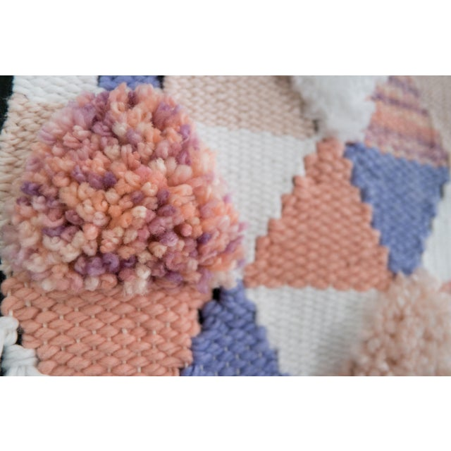 Handwoven Pink & Purple Wall Hanging - Image 3 of 6