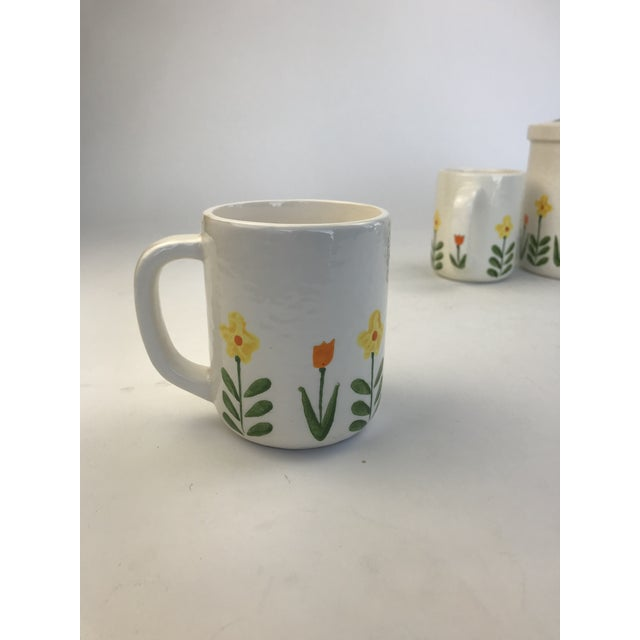 White 1960's Japanese Coffee Cups and Canister - Set of 5 For Sale - Image 9 of 11
