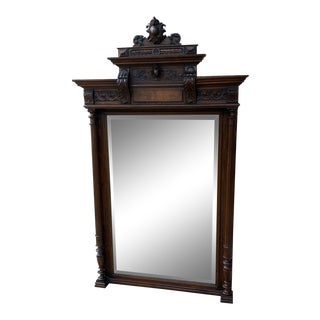 Antique French Wall Pier Mantel Mirror Walnut Large 19th C Louis Phillipe For Sale