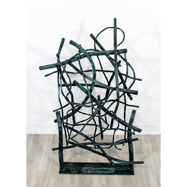 For your consideration is a unique, forged painted copper metal, abstract table sculpture, signed by Robert D. Hansen,...