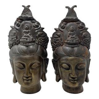 Cast Iron Guan Yin Bodhisattva Head Sculpture/Bookends - Set of 2 For Sale