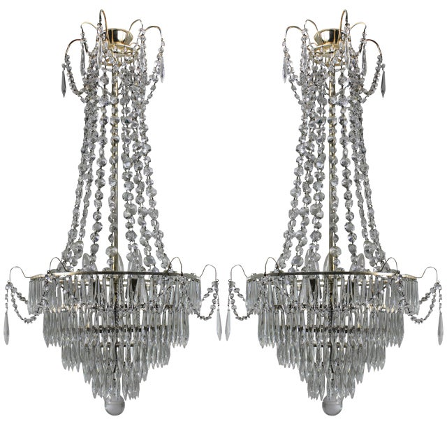 Pair of Swedish Chandeliers For Sale