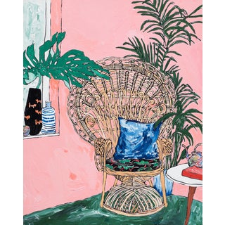 "Lara Meintjes ""Peacock Chair Portrait"" Original Interior Painting of Cane Chair on Pink For Sale"