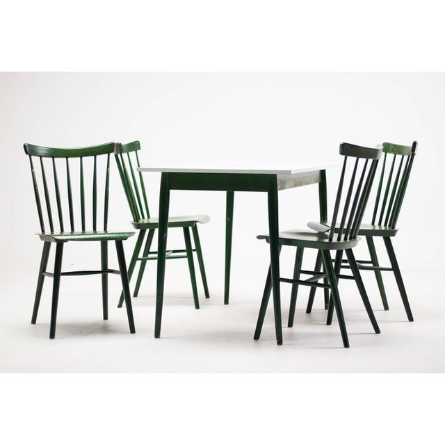 Set of Four Ilmari Tapiovaara Spindle Back Chairs and Table For Sale - Image 9 of 9