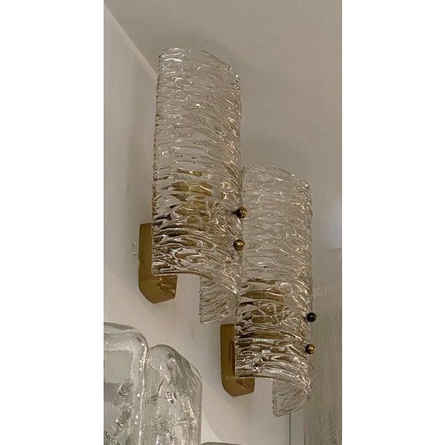 Metal Mid-Century Modern Kalmar Glass Sconces - a Pair For Sale - Image 7 of 9