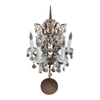 Restoration Hardware Rococo Iron and Crystal Table Lamp For Sale