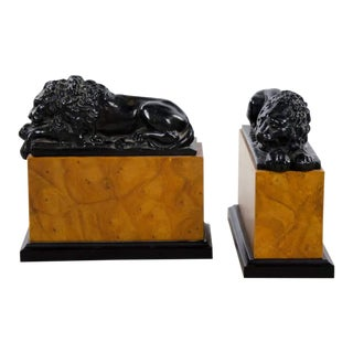 Italian Neoclassical Style Lion Bookends - a Pair For Sale