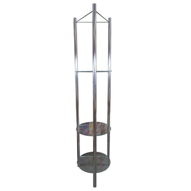 Mid-Century Chrome Etagere with Triangular Shelves For Sale