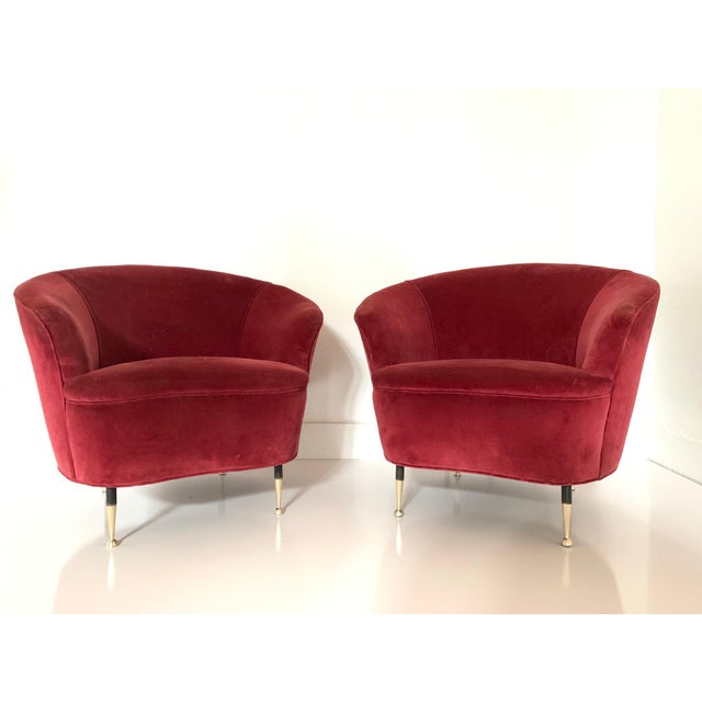 Red Pair of 1950s Italian Lounge Chairs For Sale - Image 8 of 8
