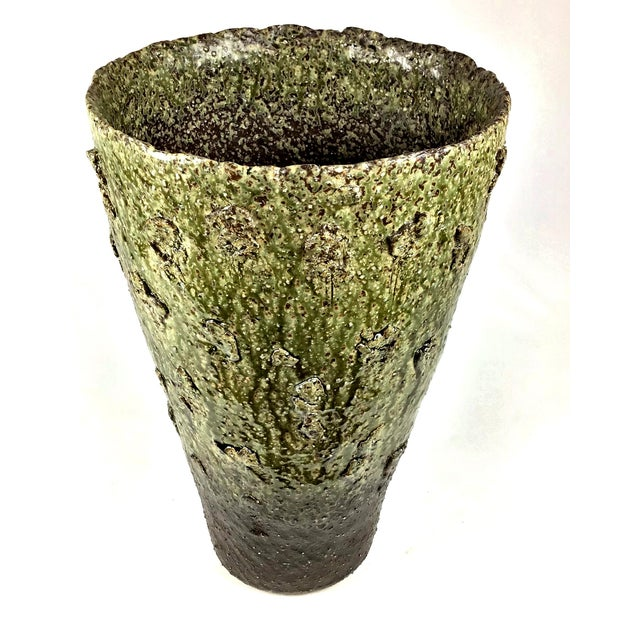 This large unusual contemporary Japanese Studio Pottery Vase has a rough surface texture impregnated with glassy droplets...