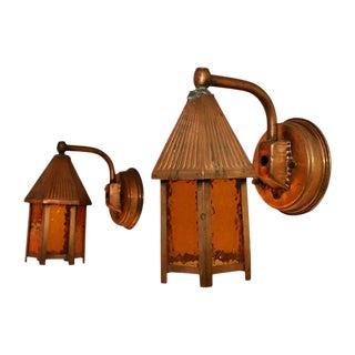 1940s Outdoor Copper Sconces - a Pair For Sale