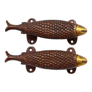 Red Brass Fish Door Handles - a Pair For Sale