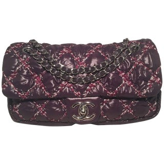 Chanel Plum Purple Quilted Puffy Nylon Classic Flap Shoulder Bag For Sale