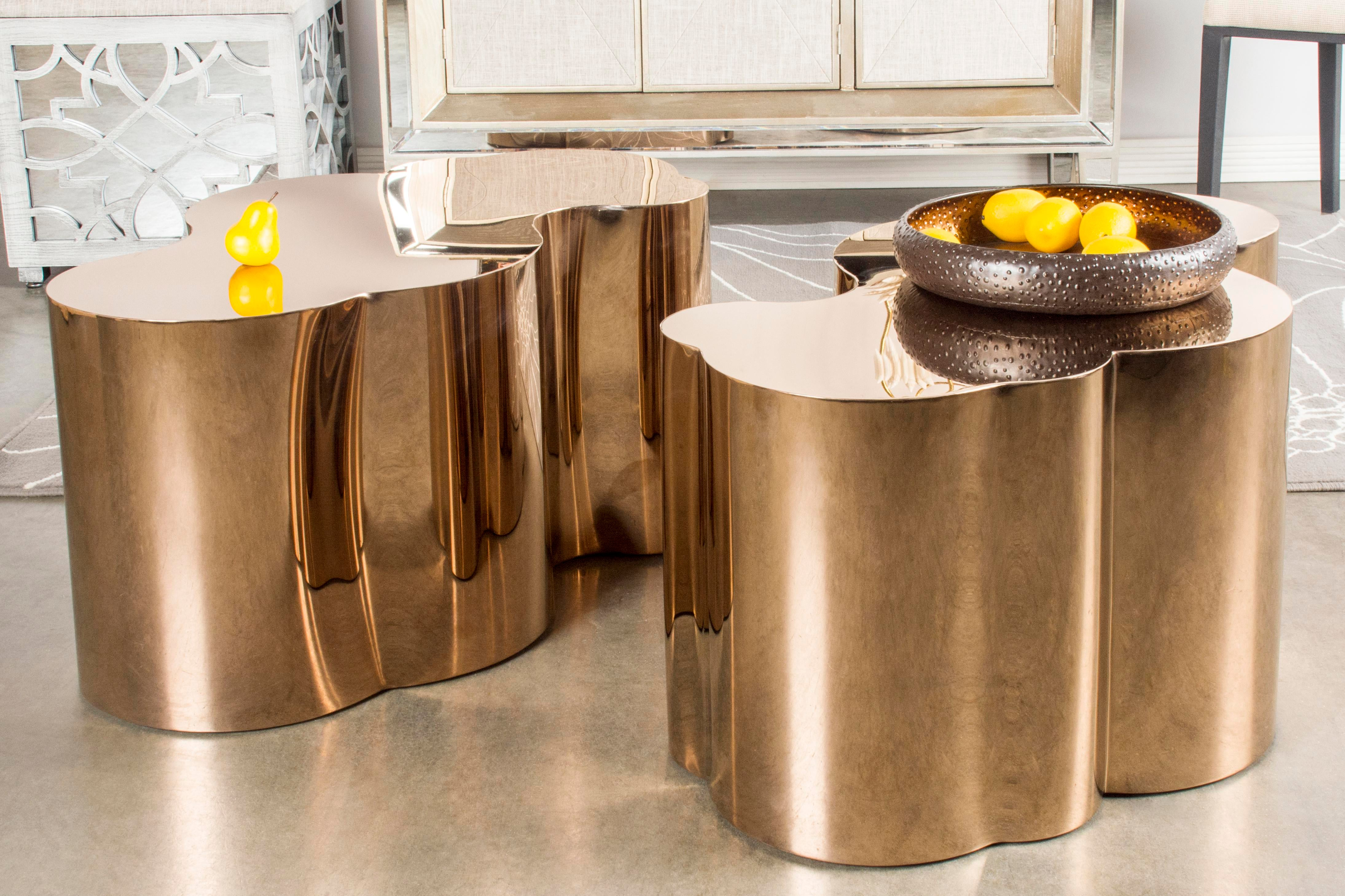 Kate Modern Rose Gold Stainless Steel Coffee Table   Image 2 Of 3