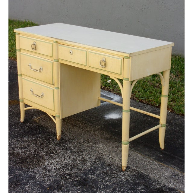Mid-Century Faux Bamboo Cream Desk - Image 4 of 8