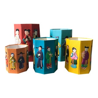Set of 5 Mid Century Chinese Boxes with Silk Applique - The 8 Immortals