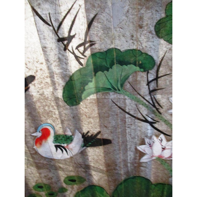 Wood 1980s Japanese Hand-Painted Paper & Wood Wall Fan For Sale - Image 7 of 13