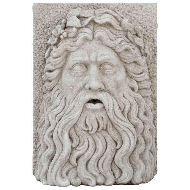 20th Century Large Tuscan Garden Mask of Zeus For Sale