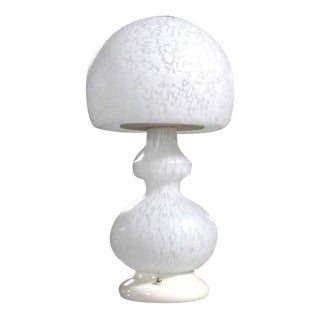 Textured Milk Glass Mushroom Table Lamp For Sale